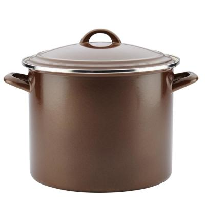 Home Collection 12 qt. Steel Nonstick Stock Pot in Brown Sugar with Lid