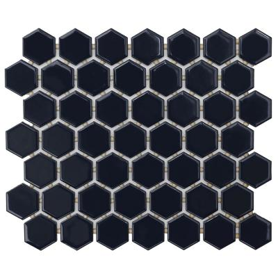 Restore Glossy Navy Hexagon 10 in. x 12 in. x 6.35 mm Glazed Ceramic Mosaic Tile (0.81 sq. ft./piece)
