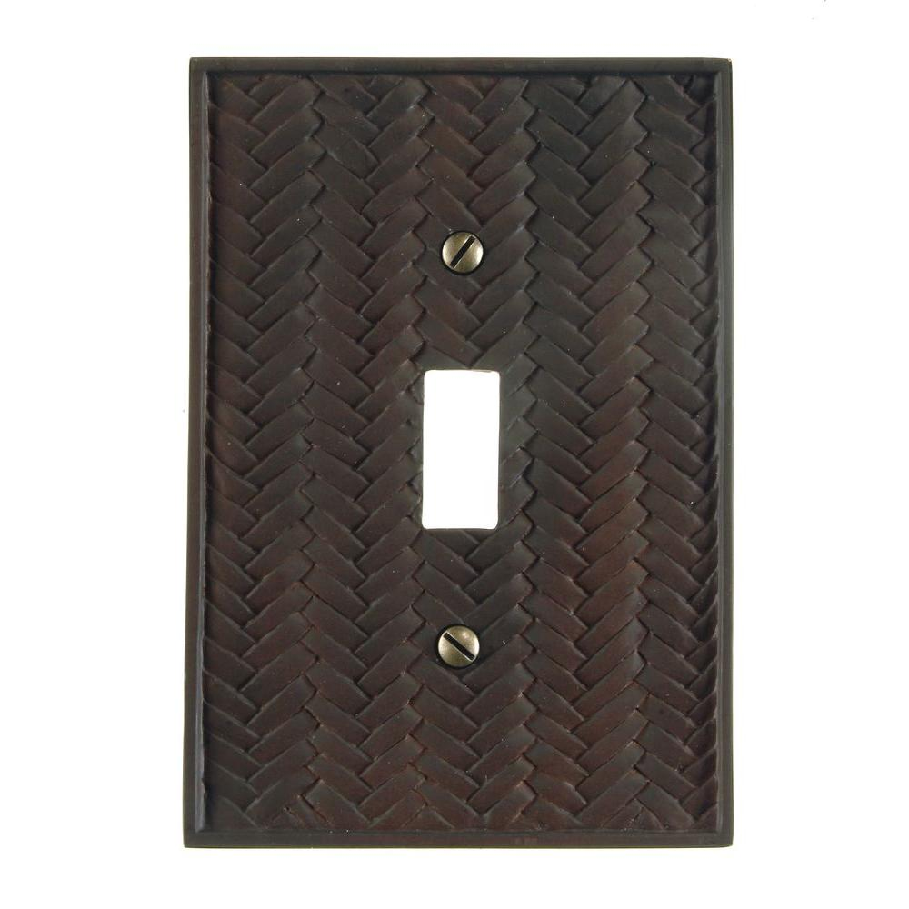 Amerelle Weave 1 Toggle Wall Plate - Bronze