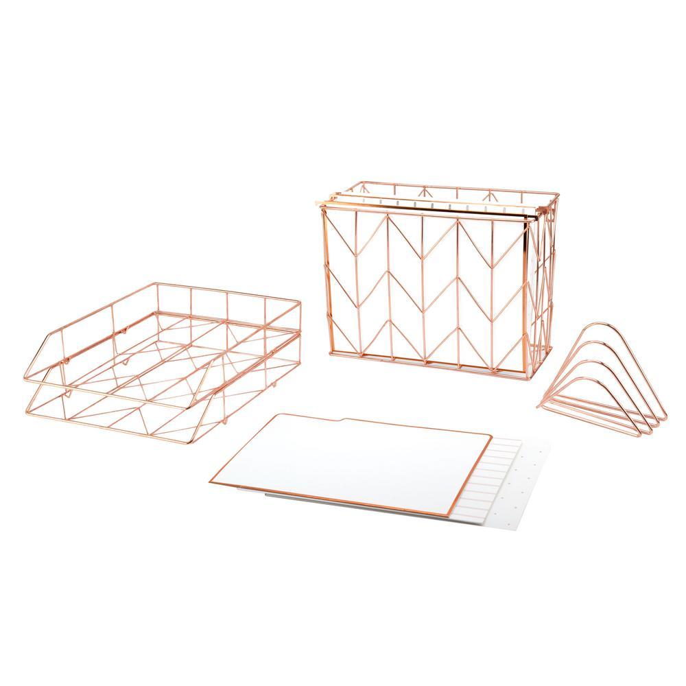 Rose Gold Metal Wire Desktop Filing Kit