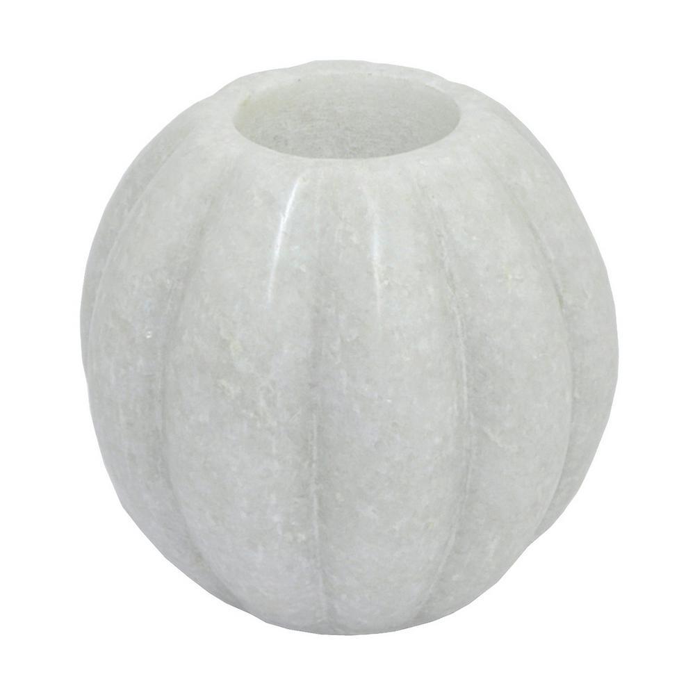 4 in. Dia White Marble Tea-Light Holder