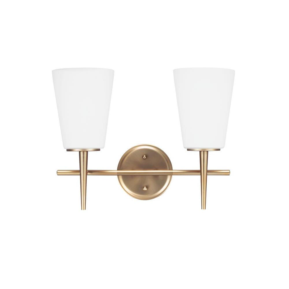 Driscoll 2-Light Satin Bronze Wall//Bath Vanity Light with Inside White Painted