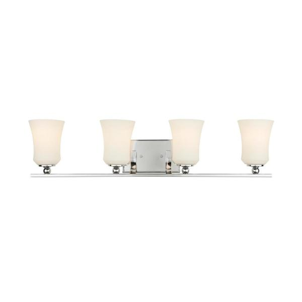 4-Light Chrome Square Bath Vanity Light with Etched White Glass