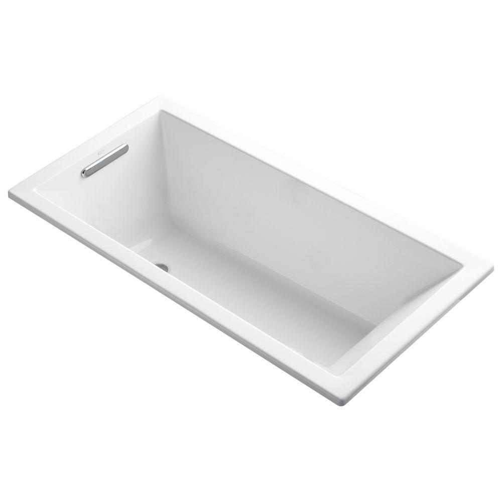 Underscore 60 in. x 30 in. Acrylic Drop-In Soaking Bathtub with Reversible Drain in White