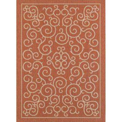 Scroll Terracotta/Sand 5 ft. x 7 ft. Indoor/Outdoor Area Rug