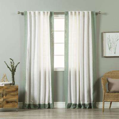 84 in. L White Linen Blend Spruce Bordered Curtain Panel (2-Pack)