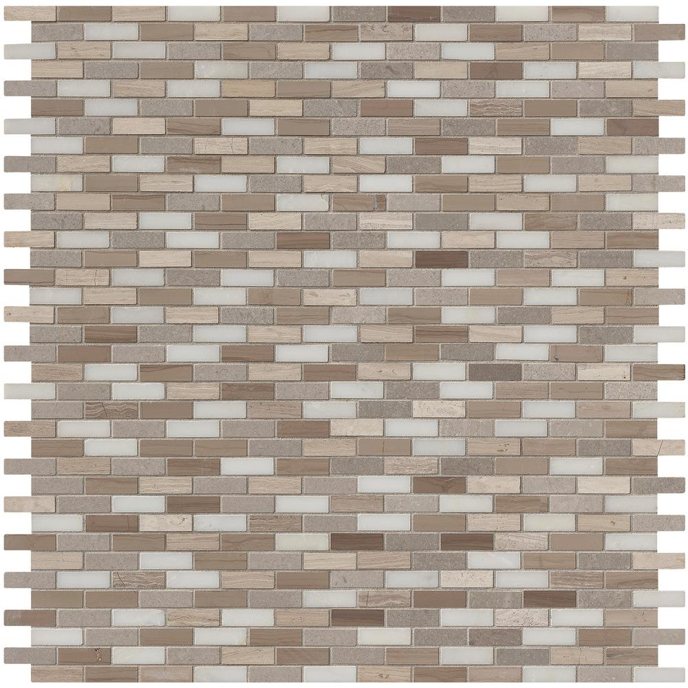 MSI Arctic Storm 12 in. x 12 in. x 10mm Honed Marble Mesh-Mounted Mosaic Floor and Wall Tile (1 sq. ft.)
