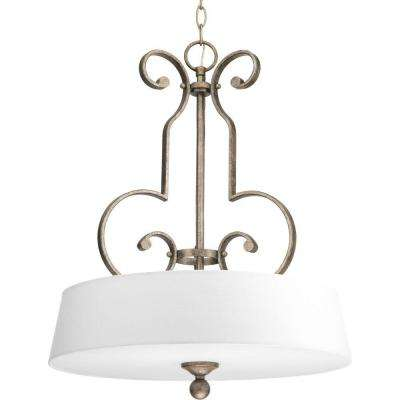 Stroll Collection 3-Light Pebbles Foyer Pendant with Off-White Fabric Shade