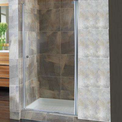 Cove 24.5 in. to 26.5 in. x 72 in. Semi-Framed Pivot Shower Door in Silver with 1/4 in. Clear Glass