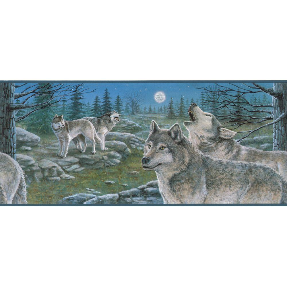 The Wallpaper Company 9 in. x 15 ft. Blue Scenic Wolves Border