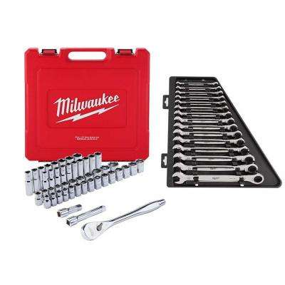 1/2 in. Drive SAE/Metric Ratchet and Socket Mechanics Tool Set W/ Metric Combination Ratcheting Wrench Set (62-Piece)