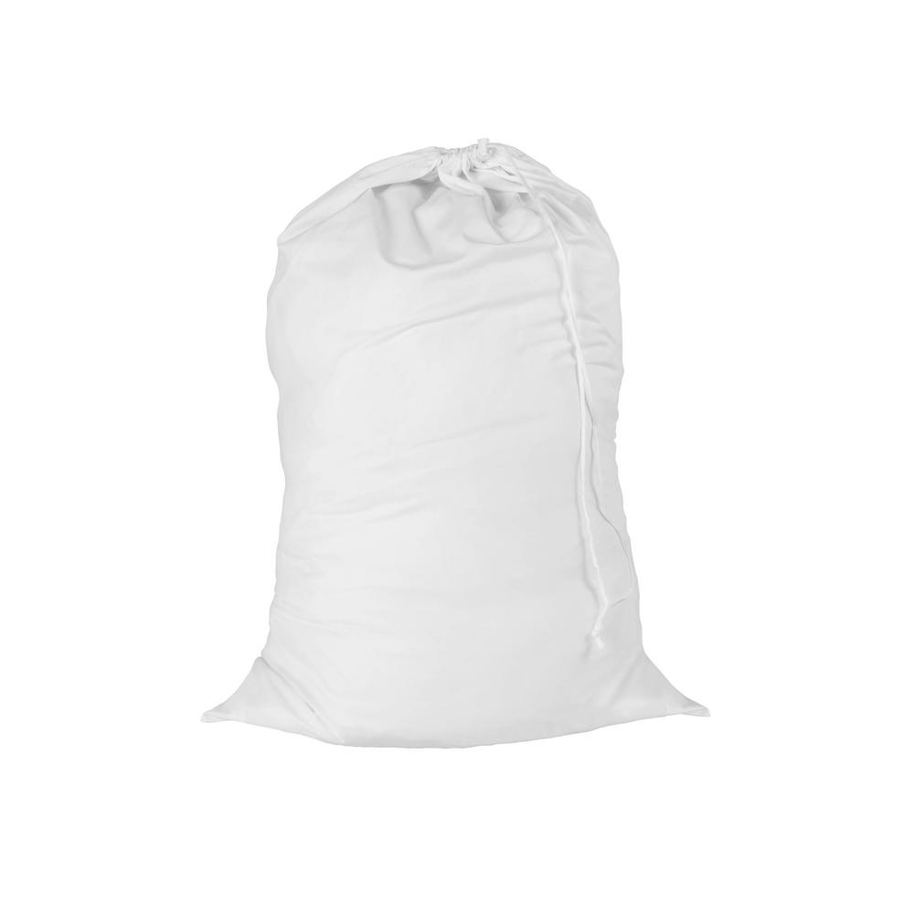 24 in. x 36 in. Cotton Laundry Bag in White (2-Pack)