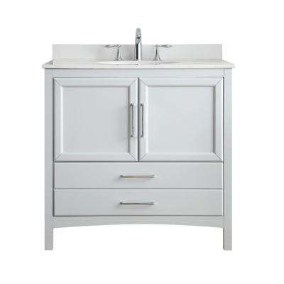Joyce 36 in. W x 22 in. D Vanity in Dove Grey with Marble Top in White with White Basin