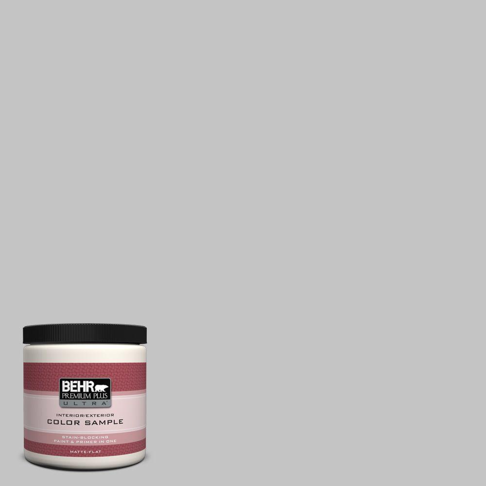 BEHR Premium Plus Ultra 8 oz. #N520-2 Silver Bullet Matte Interior/Exterior Paint and Primer in One Sample