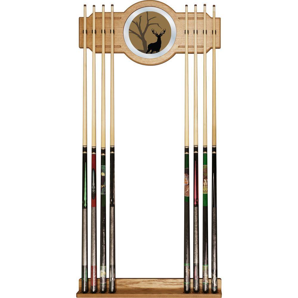 Hunt Deer 30 in. Wooden Billiard Cue Rack with Mirror