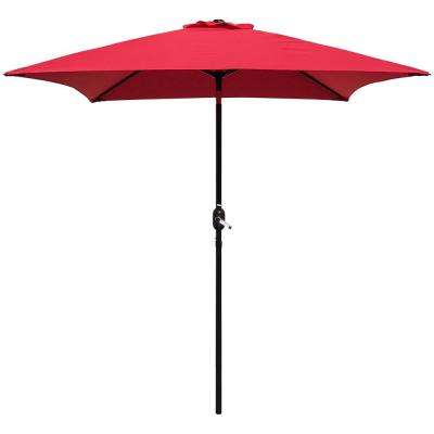 6.5 ft. Steel Crank and Tilt Square Market Patio Umbrella in Red