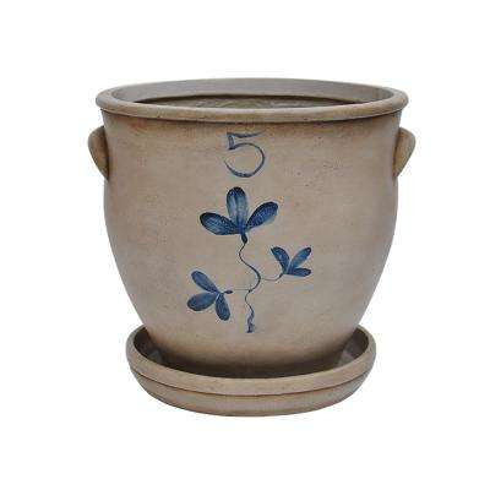 15 in. Dia Composite Salt Glaze Pot with Saucer