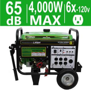LIFAN Energy Storm 4,000-Watt 211cc 7 MHP Gasoline Powered Electric Start Portable Generator with Wheel Kit by LIFAN