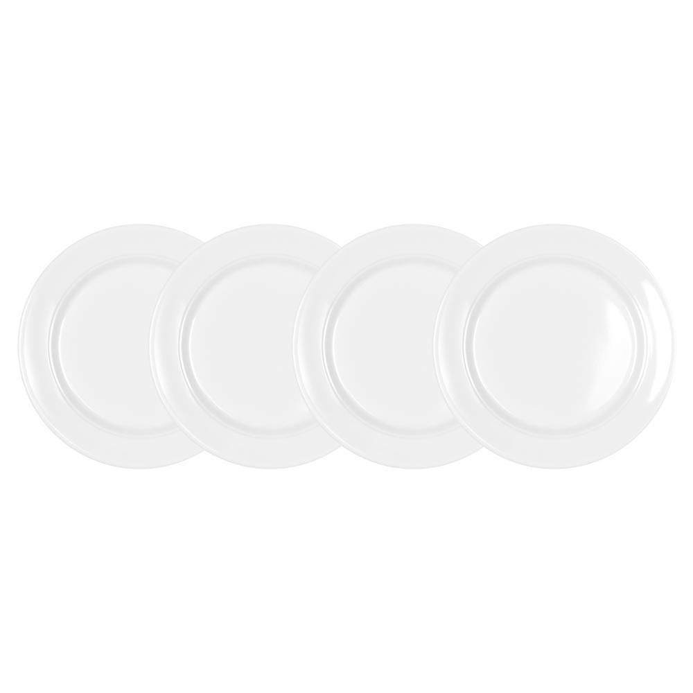 Q Squared Diamond 4-Piece White Round 5.5 in. Melamine Appetizer Plate