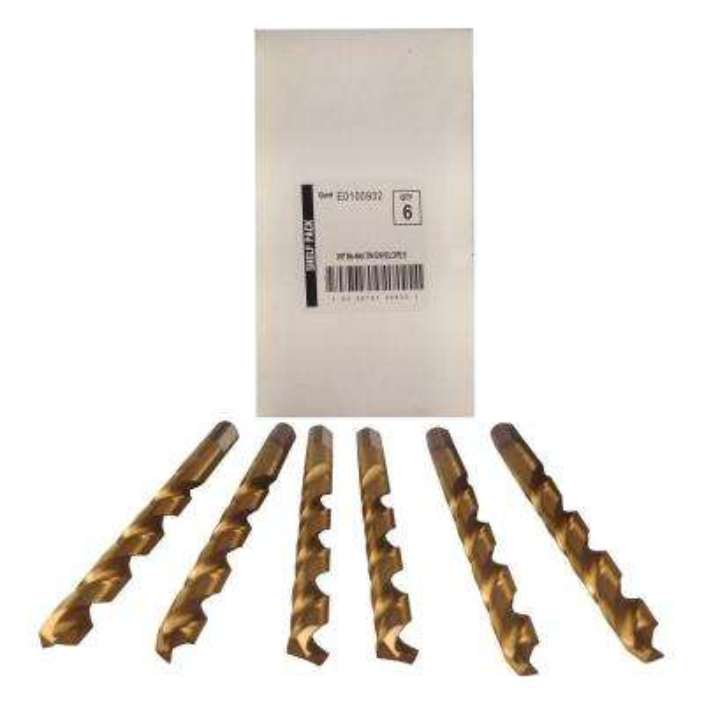 3/8 in. Diameter Titanium Jobber Drill Bit (6-Pack)