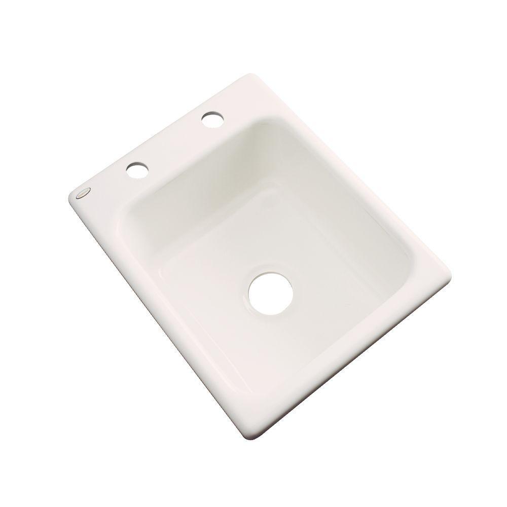 Thermocast Crisfield Drop-In Acrylic 17 in. 2-Hole Single Bowl Prep Sink in Bone