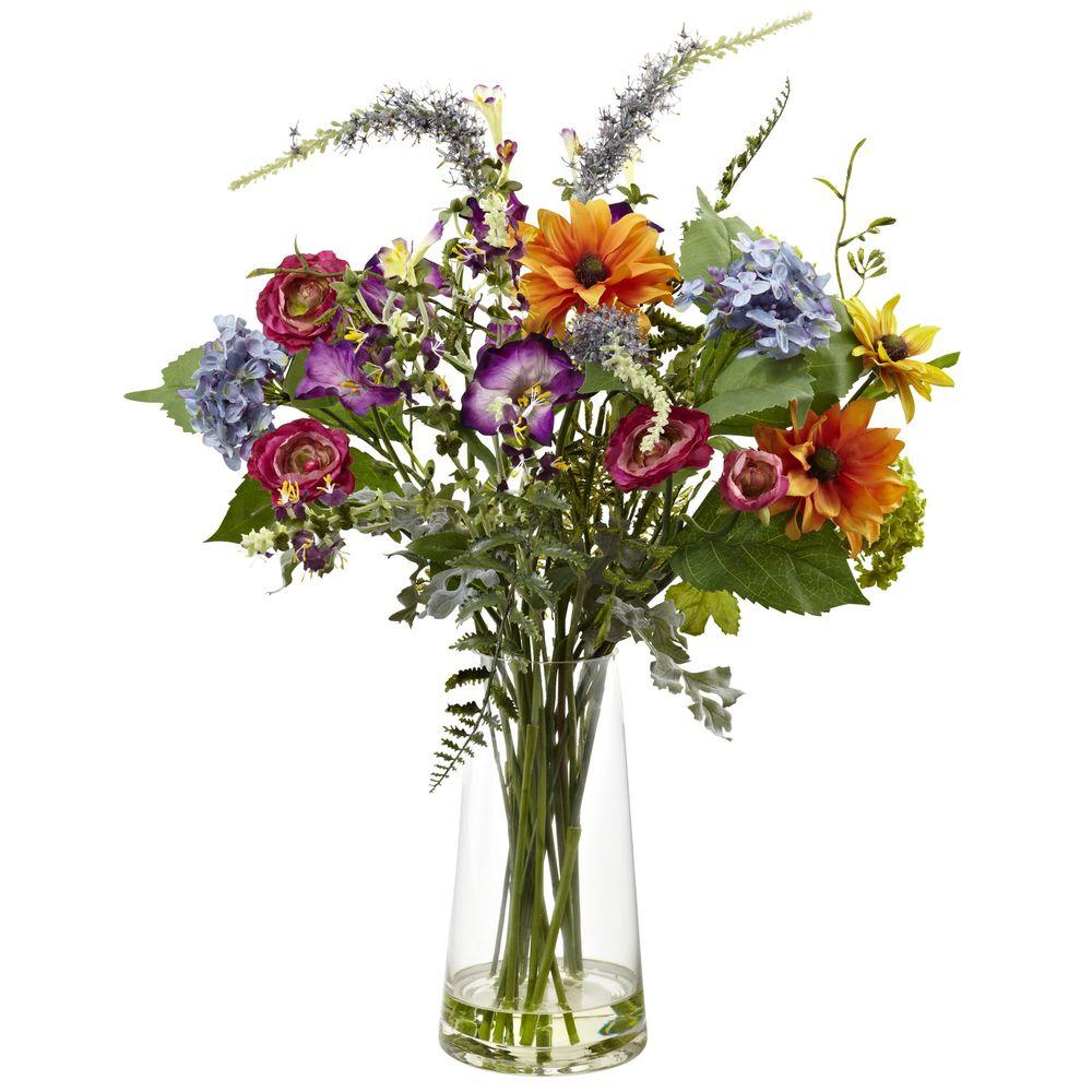 Nearly Natural Spring Garden Floral With Vase 4822 The Home Depot