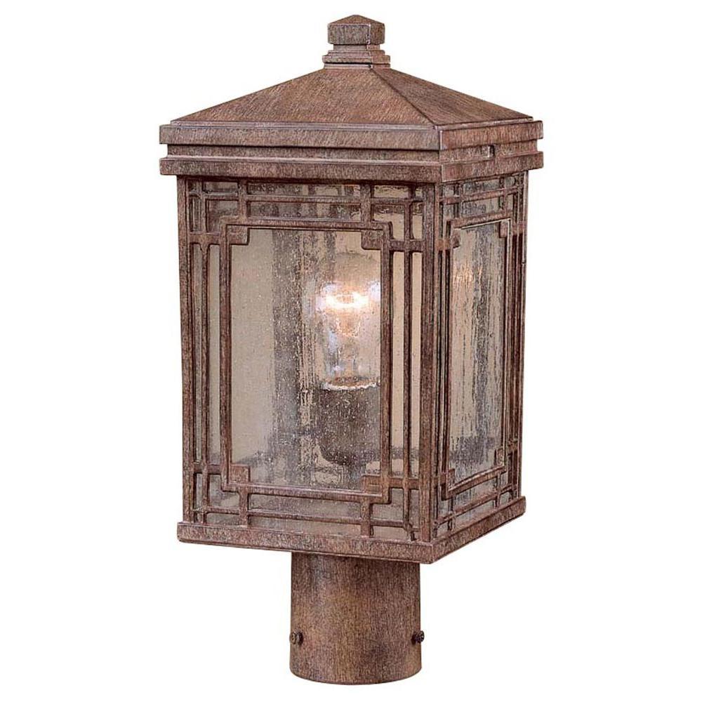 Larkin Street Post Mount 1-Light Vintage Rust Outdoor Lantern