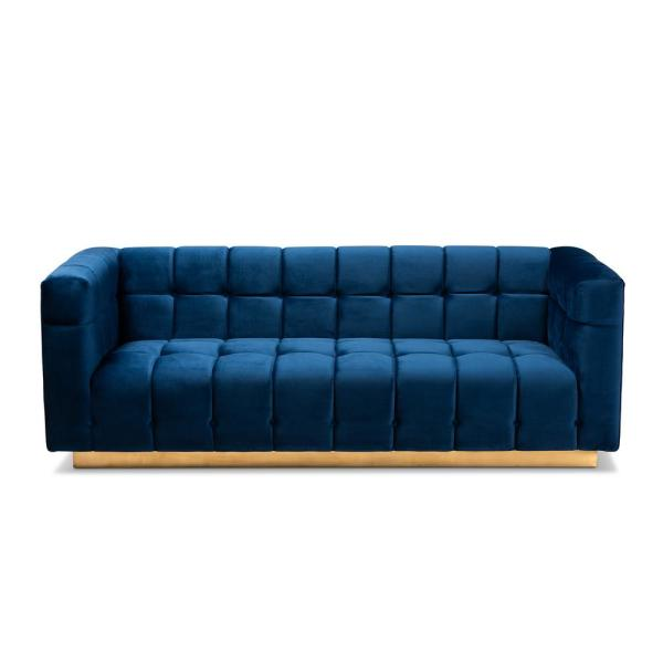 Loreto 83.5 in. Blue/Gold Fabric 3-Seater Tuxedo Sofa with Square Arms