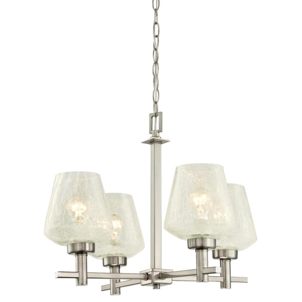Westinghouse Hennessey 4-Light Brushed Nickel Chandelier with Clear Crackle Glass Shades