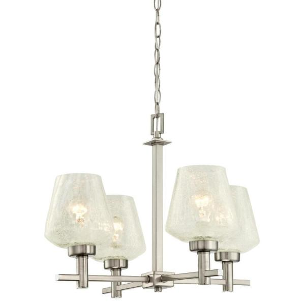 Westinghouse Hennessey 4 Light Brushed Nickel Chandelier With Clear Crackle Glass Shades 6333500 The Home Depot