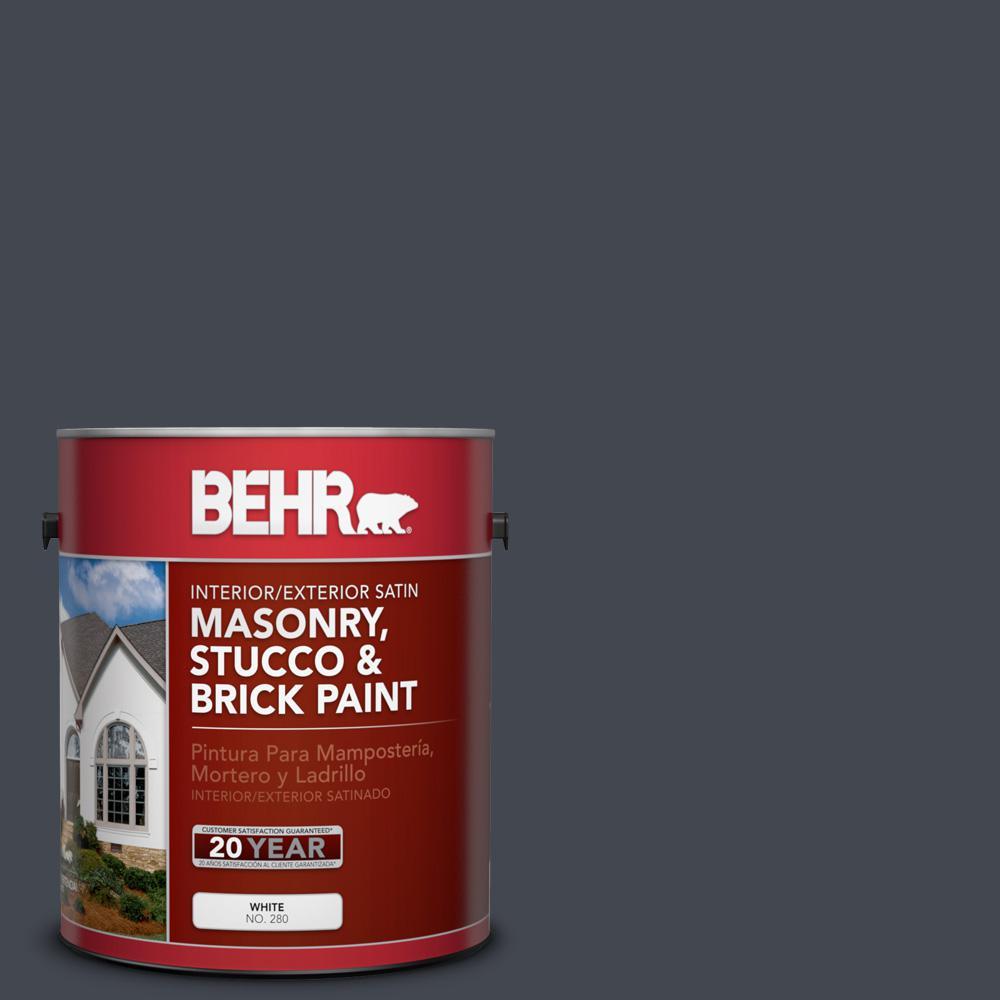 1 gal. #N490-7 Ink Black Satin Interior/Exterior Masonry, Stucco and Brick Paint