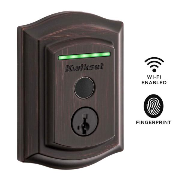 Halo Touch Venetian Bronze Traditional Fingerprint Wi-Fi Electronic Smart Lock Deadbolt Featuring SmartKey Security