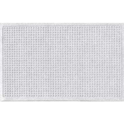 White 24 in. x 36 in. Squares Polypropylene Door Mat