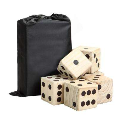 Six 3.5 in. x 3.5 in. High Roller Yard Dice Set with Wooden Dice and Reusable Scorecard Included in Nylon Storage Bag