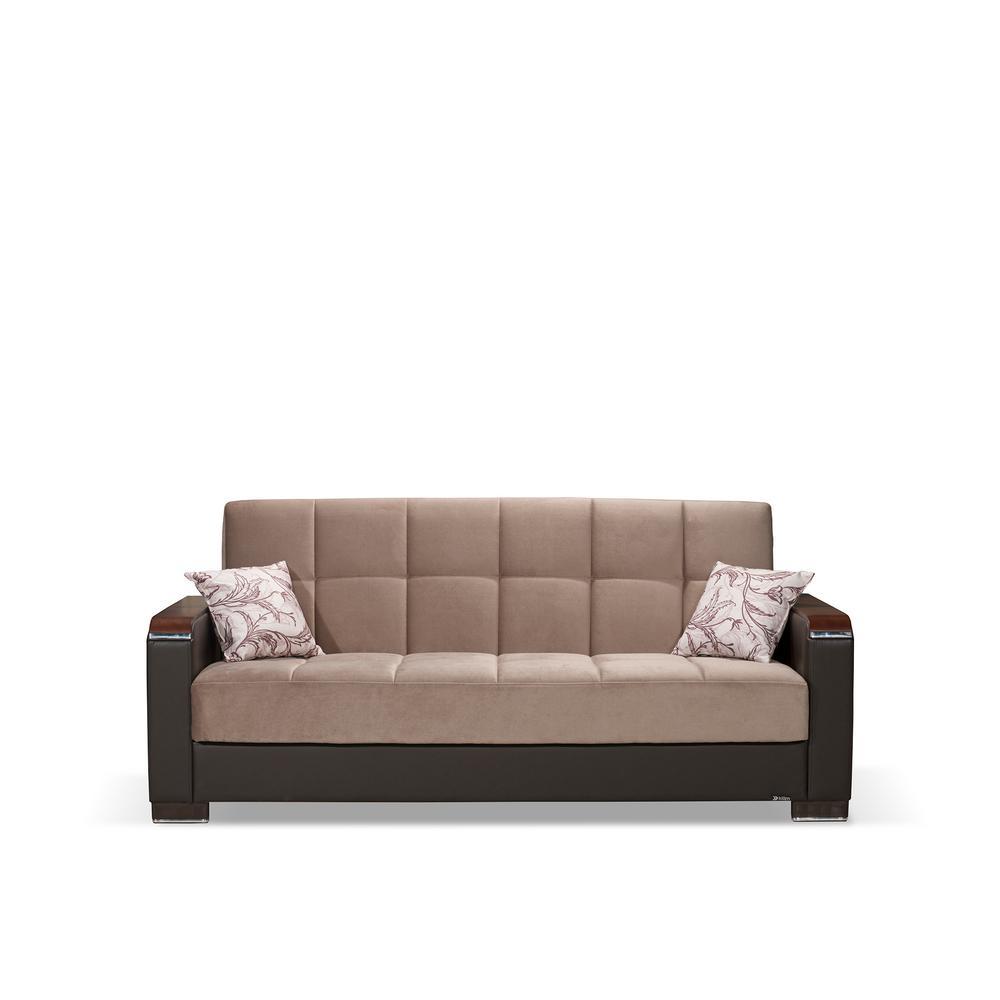 Ottomanson Armada Sand Brown Wooden Armed Sofa Sleeper Bed