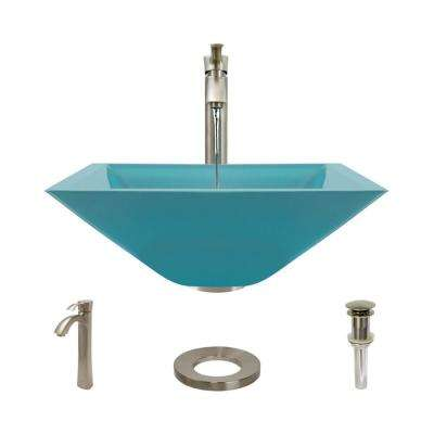 Glass Vessel Sink in Cerulean with R9-7006 Faucet and Pop-Up Drain in Bushed Nickel
