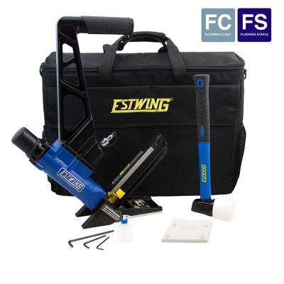 Pneumatic 2-in-1 16-Gauge L Cleat or 15.5-Gauge Flooring Nailer/Stapler with Fiberglass Mallet and Padded Bag