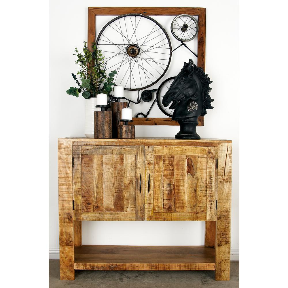 Gentil Litton Lane Stained Brown Mango Wood 2 Door Cabinet