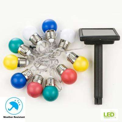 10-Light 225 in. Solar Integrated LED Assorted Color Round Light Bulb String Light with Solar Panel