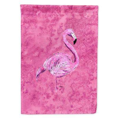 11 in. x 15-1/2 in. Polyester Flamingo on Pink 2-Sided 2-Ply Garden Flag