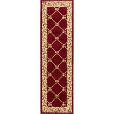 Timeless Fleur De Lis Red 2 ft. x 7 ft. Formal Runner Rug