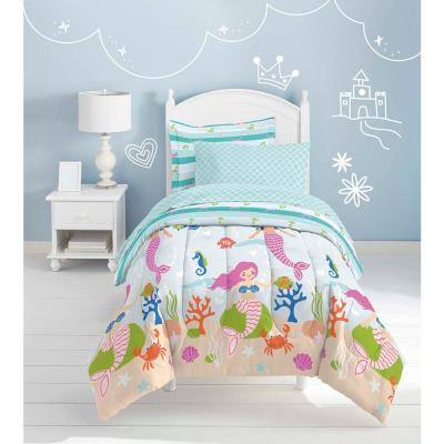 Mermaid Dreams 5-Piece Light Blue Twin Bed in a Bag Set