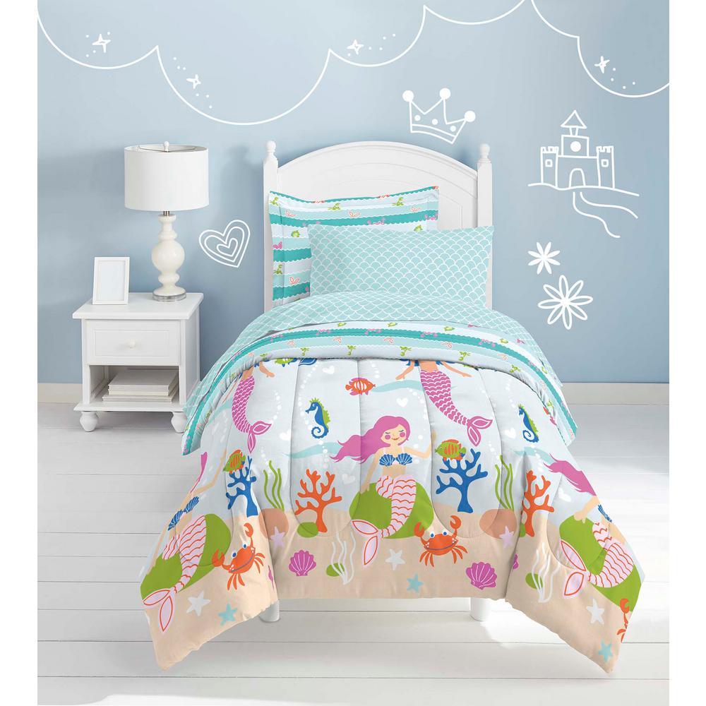 Mermaid Dreams 5-Piece Light Blue Twin Bed in a Bag Set