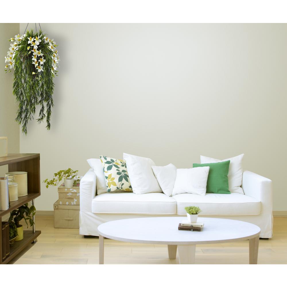 Indoor Bamboo and Dendrobium Hanging Basket in Cream