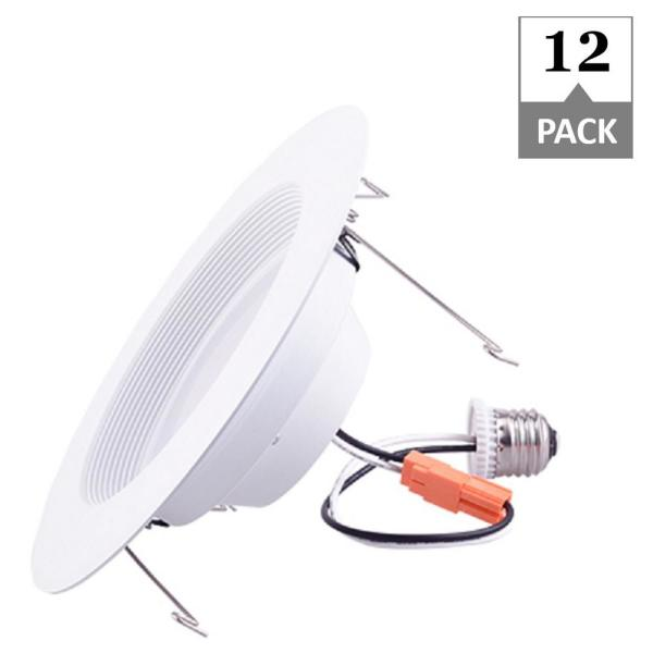 Simply Conserve 5 6 In Retrofit 3000k Remodel Non Ic Rated Canless Integrated Led Recessed Light Kit With White Trim 12 Pack L13dl5 6 30k The Home Depot