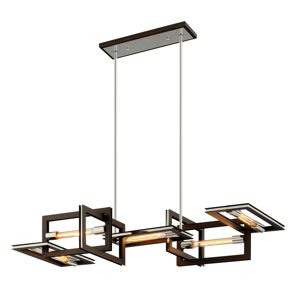 Troy Lighting Enigma 5-Light Bronze 31 in. W Linear Pendant