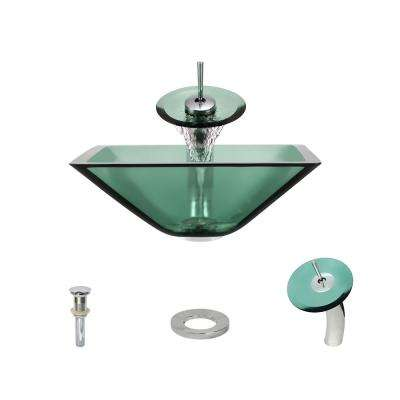 Glass Vessel Sink in Emerald with Waterfall Faucet and Pop-Up Drain in Chrome