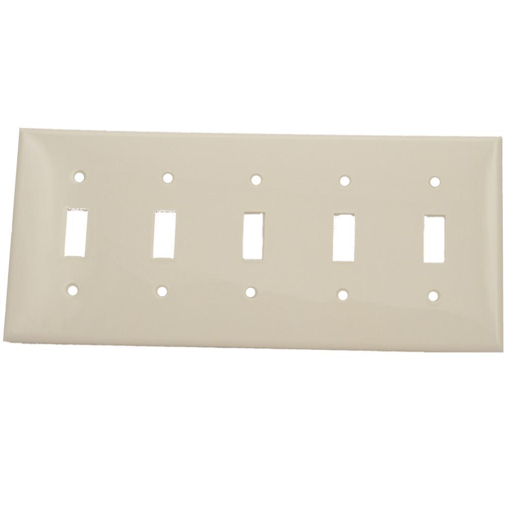 5-Gang 5-Toggle Standard Size Heavy Duty Nylon Wall Plate, White