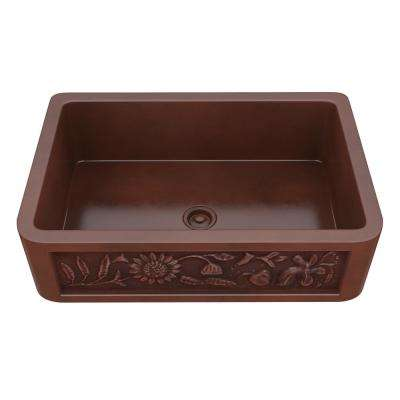 Saint Farmhouse Handmade Copper 43 in. Single Bowl Kitchen Sink with Sunflower Design Panel in Polished Antique Copper