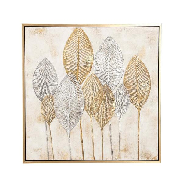 CosmoLiving by Cosmopolitan ''Gold and Silver Veined Leaves'' Hand Painted Framed